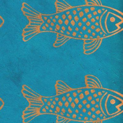 Papier népalais fond bleu poissons dorés
