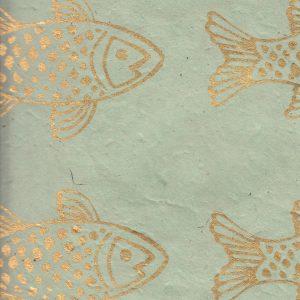 Papier népalais fond bleu clair poissons dorés