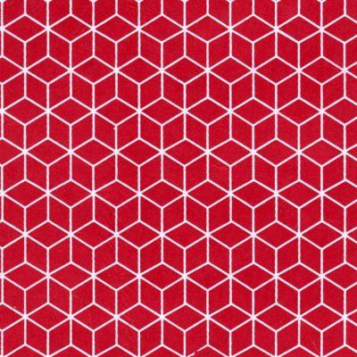 Papier népalais rouge motifs géométriques blancs