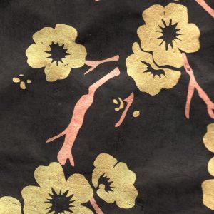 Papier népalais noir branche d'arbre cuivrée et dorée