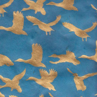 Papier népalais vert émeraude canards dorés