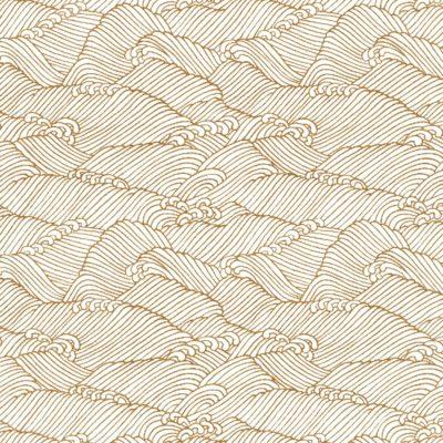 Papier japonais haut de gamme blanc vagues dorées