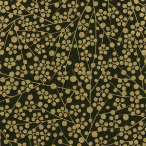 Papier japonais fond noir sérigraphie de fleurs dorées