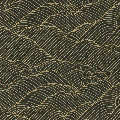 Papier japonais noir aux vagues dorées