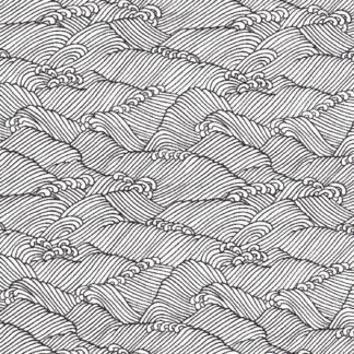 Papier japonais fond naturel vagues noires