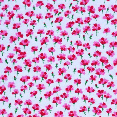 Papier japonais argenté fleurs d'œillets roses