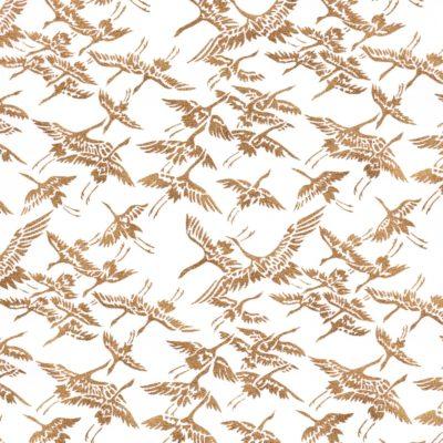 Papier japonais blanc vol de grues dorées