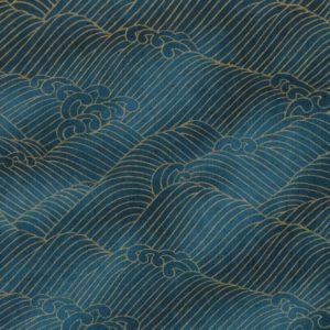 Papier japonais vagues dorées sur un fond bleu