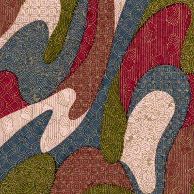 Papier japonais vert, bleu, rouge doré