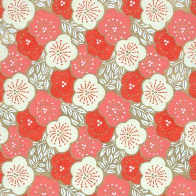 Papier japonais fleurs de pruniers saumons