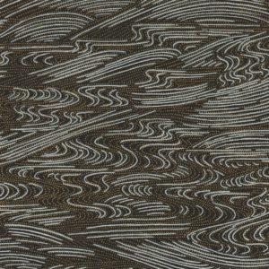 Papier japonais noir motifs argentés et dorés