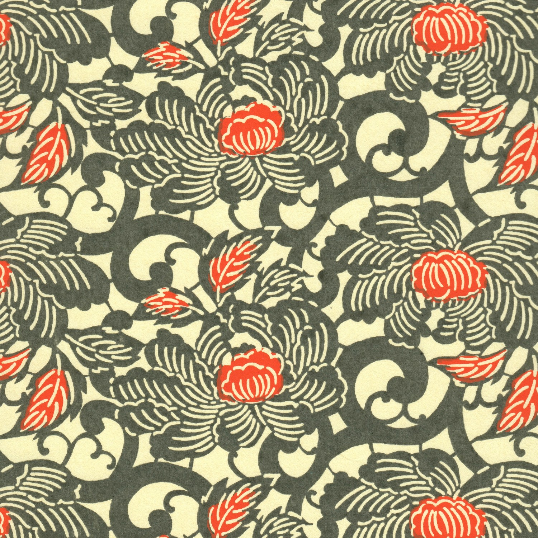 Papier japonais fleurs de lotus taupe et orange