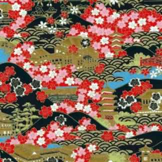 Papier japonais paysage de temples