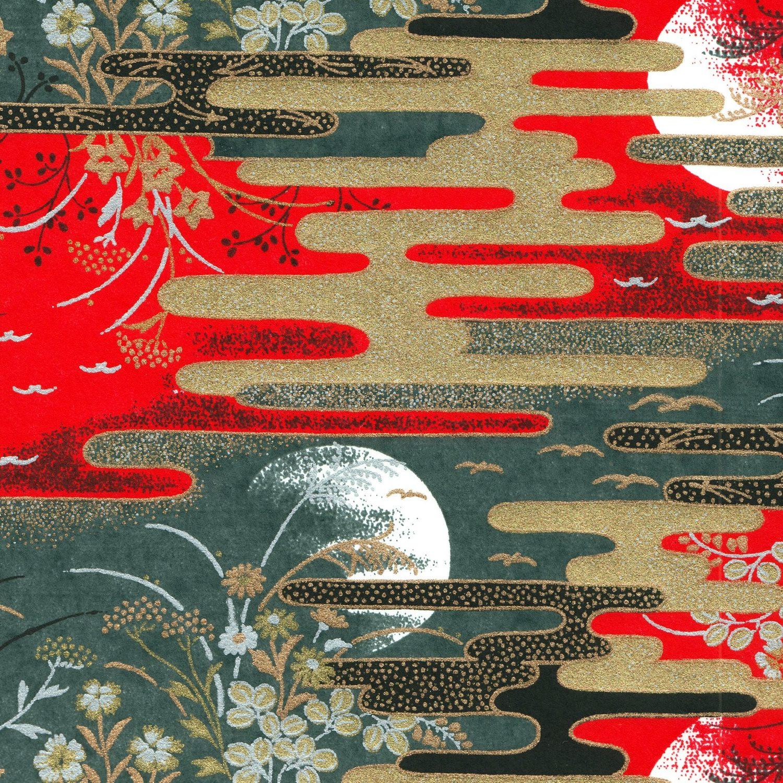 Papier japonais traditionnel paysage de plein lune