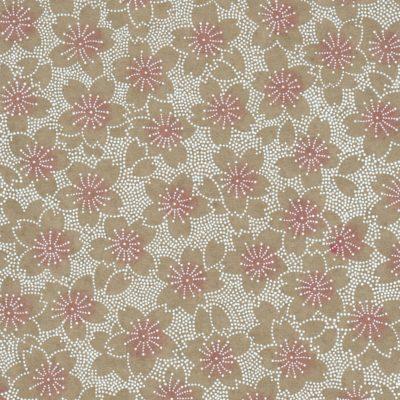 Papier japonais fleurs de sakura fond taupe