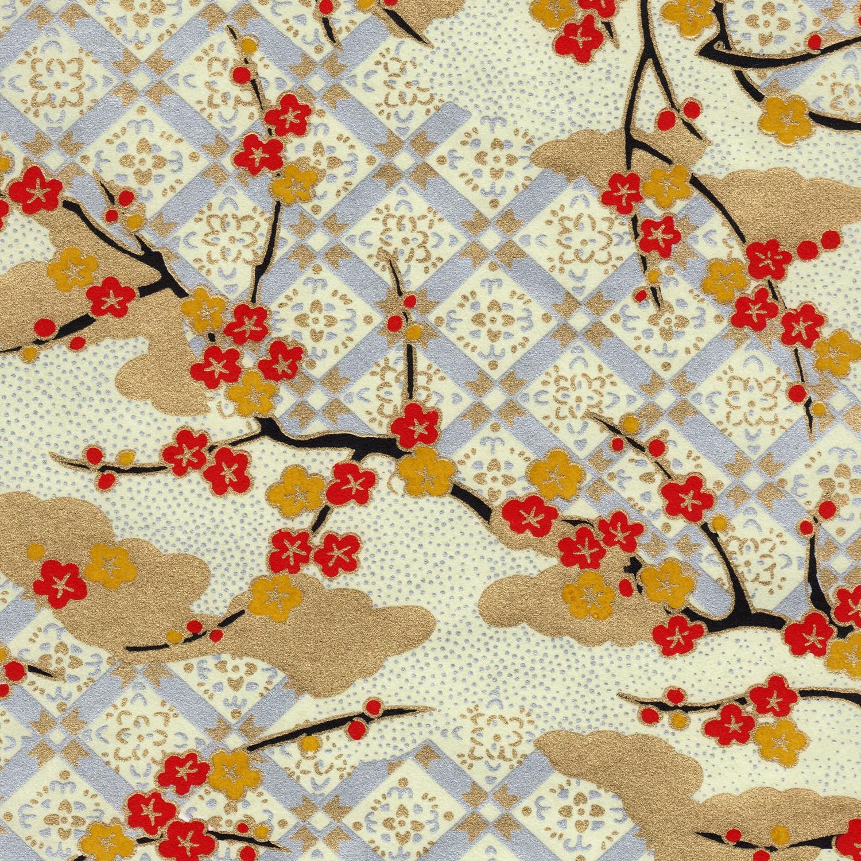 Papier japonais traditionnel, fleurs et motifs géométriques