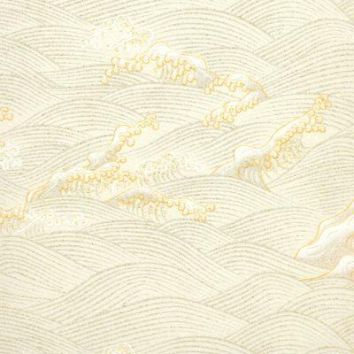 Papier japonais blanc vagues argentées et dorées