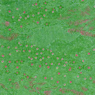 Papier japonais vert priairie
