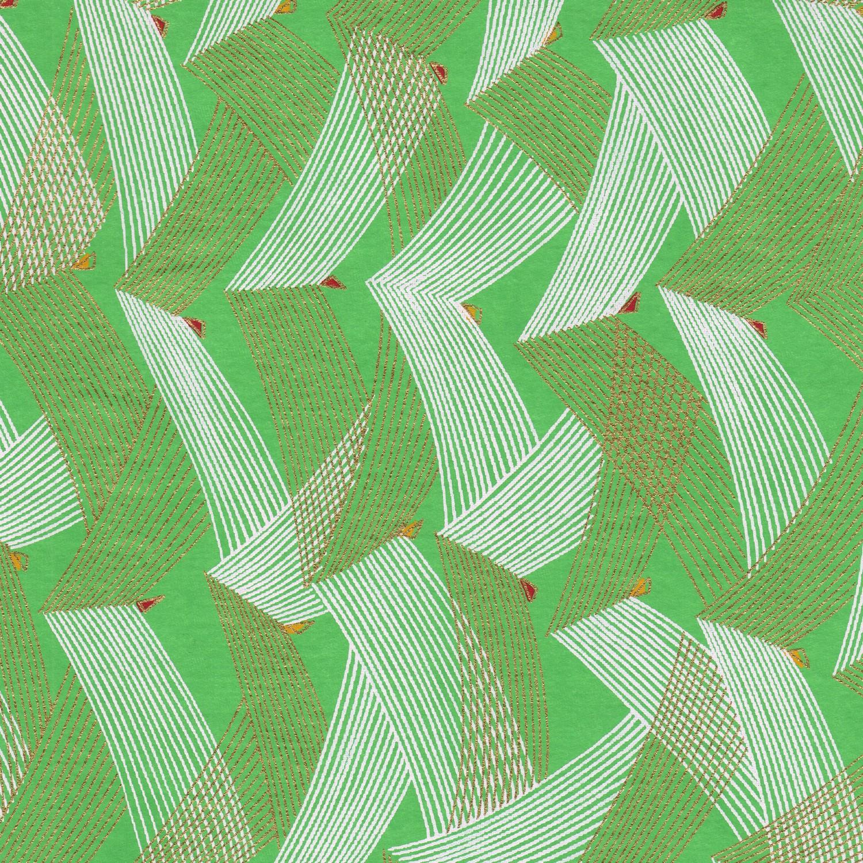 Papier japonais vert amande doré et blanc