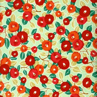 Papier japonais fleurs rouges et oranges