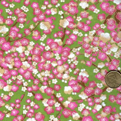 Papier japonais fond vert amande fleurs de pruniers