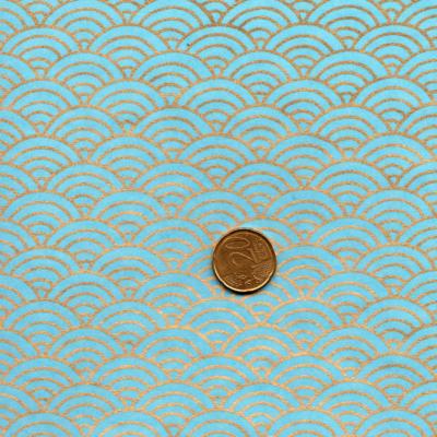Papier japonais vagues dorées fond turquoise