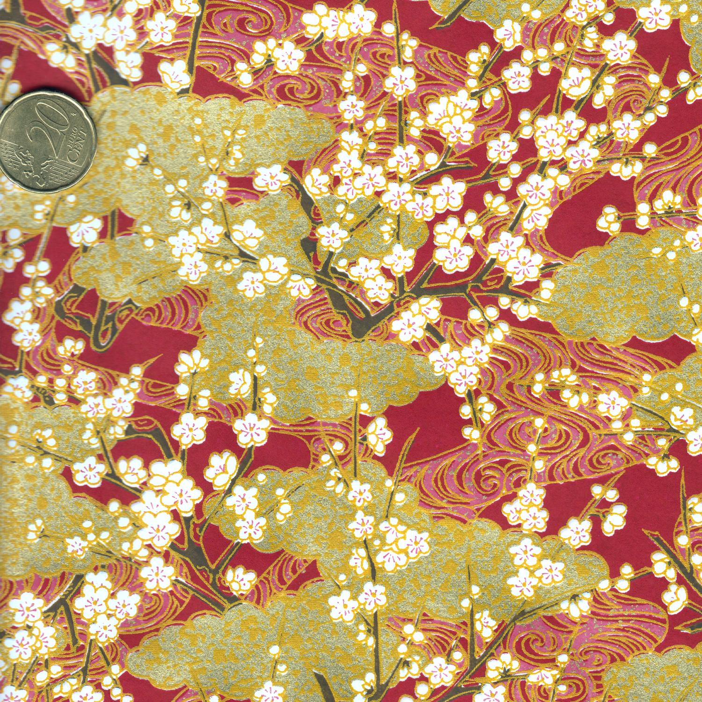 Papier japonais grenat et doré