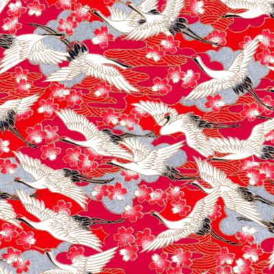 Papier japonais de grues blanches au fond framboise