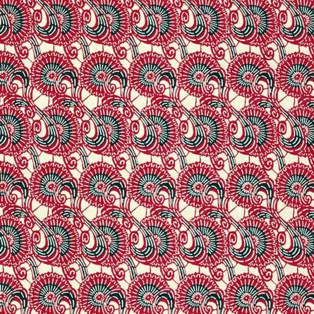 Papier japonais sérigraphie d'arabesques rouges et noires
