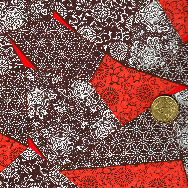 papier japonais patchwork rouge et aubergine