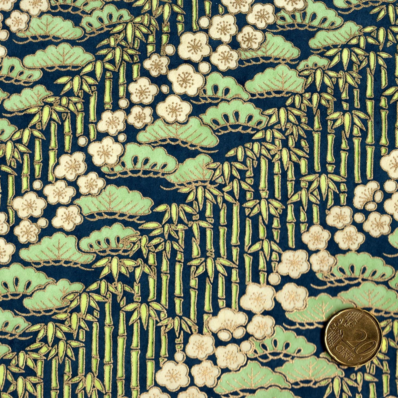Papier japonais fond bleu marine bambous fleurs de cerisiers