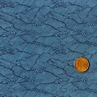 Papier japonais fond bleu vagues bleues