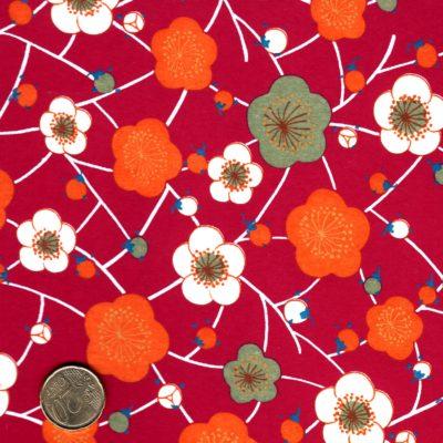 papier japonais fond rouge fleurs oranges et blanches