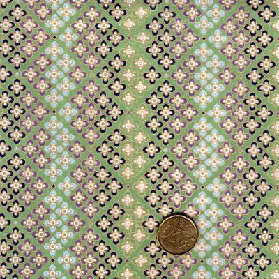 papier japonais fond vert petites fleurs bleues violettes