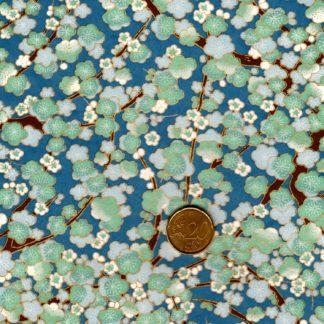 Papier japonais fleurs vertes