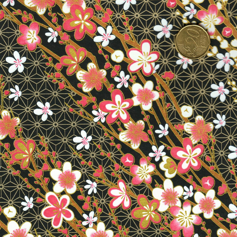 Papier japonais fond noir fleurs roses