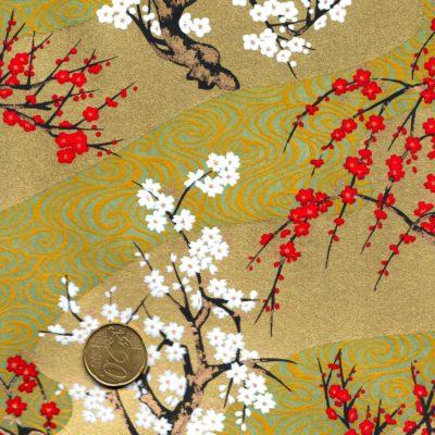 Papier japonais paysage doré