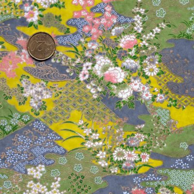 Papier japonais paysage vert et mauve